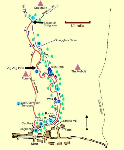The Alva glen walk in the Ochil hills detailed on this page ... Map Of Al Va on sf va map, sw va map, co va map, ky va map, dc va map, no va map,